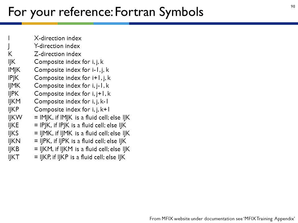 98 For your reference: Fortran Symbols I X-direction index J Y-direction index K Z-direction index IJK Composite index for i, j, k IMJK Composite inde