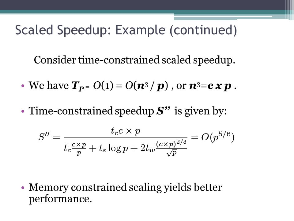 Scaled Speedup: Example (continued) Consider time-constrained scaled speedup.