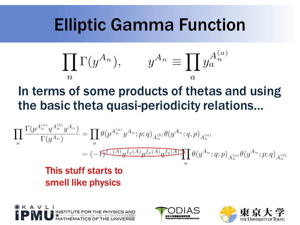 Elliptic Gamma Function In terms of some products of thetas and using the basic theta quasi-periodicity relations… This stuff starts to smell like physics