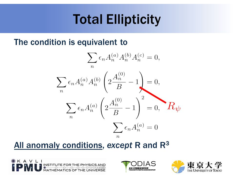 Total Ellipticity The condition is equivalent to All anomaly conditions, except R and R 3