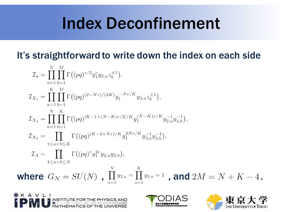 Index Deconfinement It's straightforward to write down the index on each side where,, and.