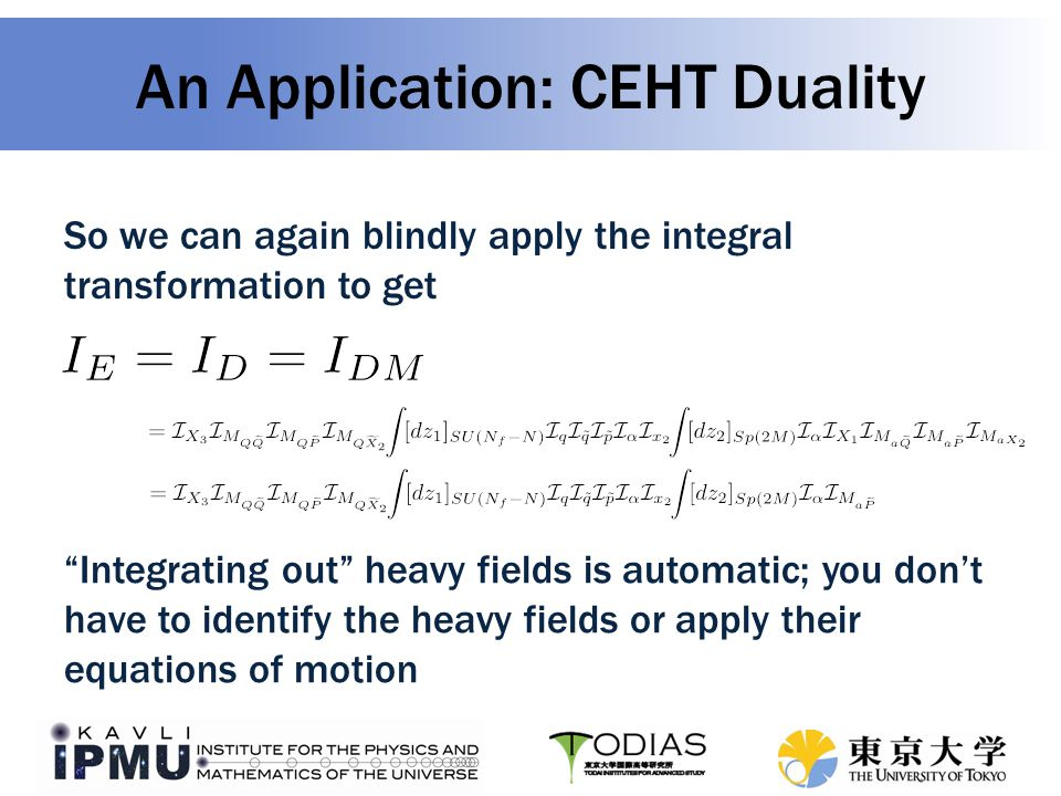 An Application: CEHT Duality So we can again blindly apply the integral transformation to get Integrating out heavy fields is automatic; you don't have to identify the heavy fields or apply their equations of motion