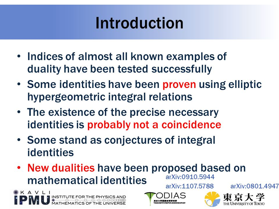 Understand unproven index identities – Many conjectured identities, including putative new dualities – In this work, all followed from basic results – Spiridonov believes adjoints are special – Is it possible to use adjoint deconfinement for Kutasov duality.