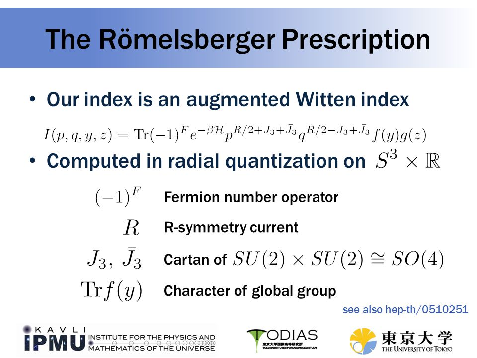 Our index is an augmented Witten index Computed in radial quantization on The Römelsberger Prescription Fermion number operator R-symmetry current Cartan of Character of global group see also hep-th/0510251