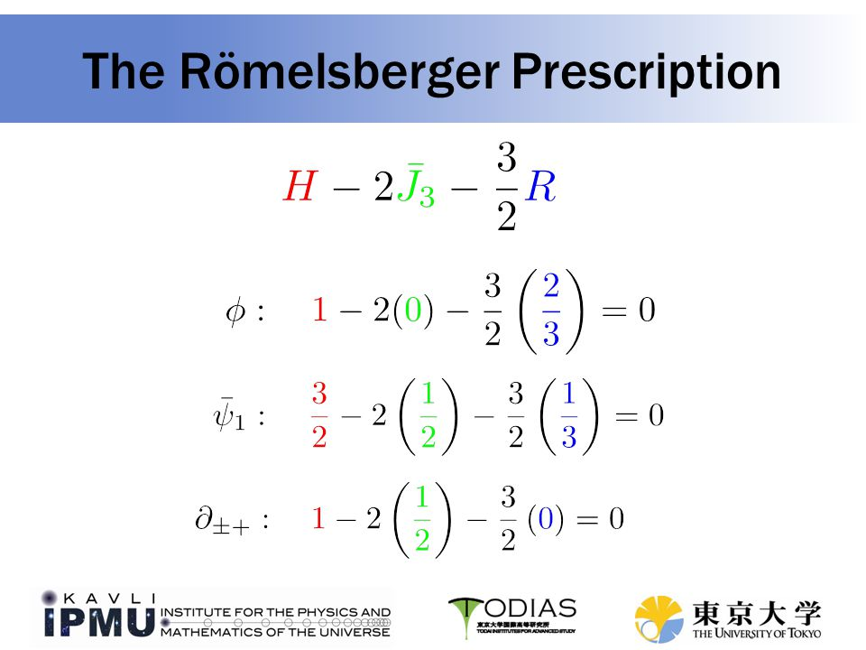Single-letter index for a matter superfield in a general theory follows from allowing other symmetries, including general R-charge Römelsberger's Prescription Similarly, the vector superfield letter is