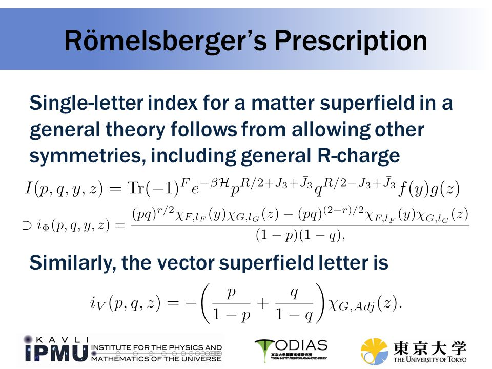Römelsberger's Prescription Finally, we just have to compose the letters into words, which is taken care of by The Plethystic Exponential, and then project onto gauge invariant states by integrating againts the Haar measure