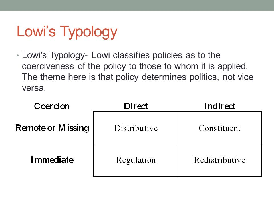 Lowi's Typology Lowi s Typology- Lowi classifies policies as to the coerciveness of the policy to those to whom it is applied.