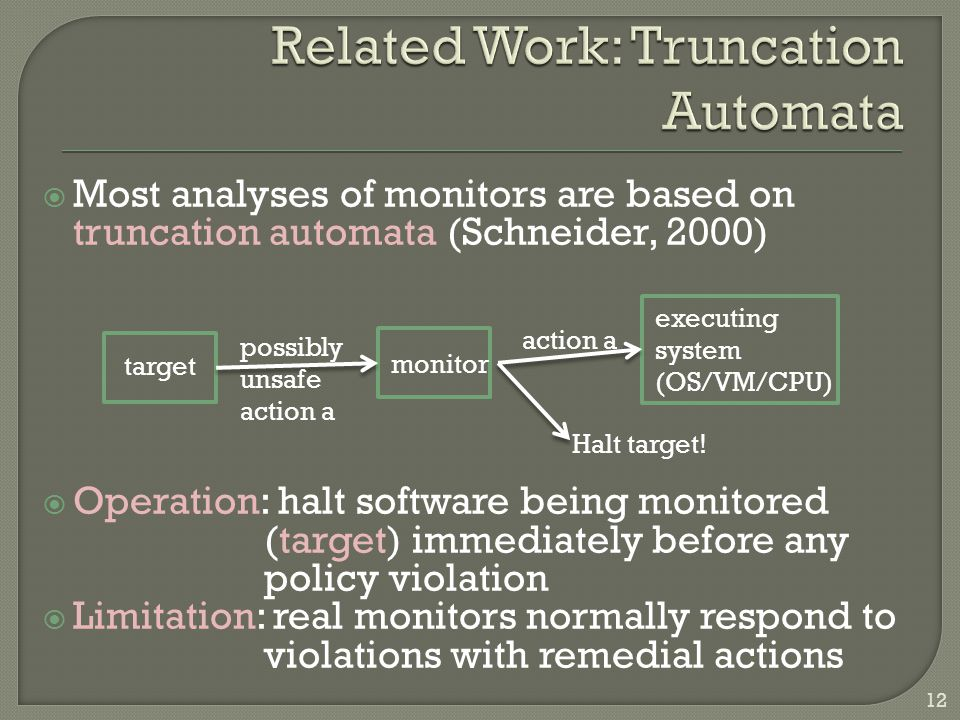  Most analyses of monitors are based on truncation automata (Schneider, 2000)  Operation: halt software being monitored (target) immediately before