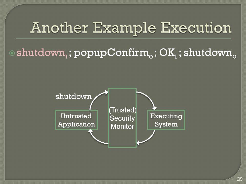  shutdown i ; popupConfirm o ; OK i ; shutdown o Untrusted Application Executing System (Trusted) Security Monitor shutdown 29