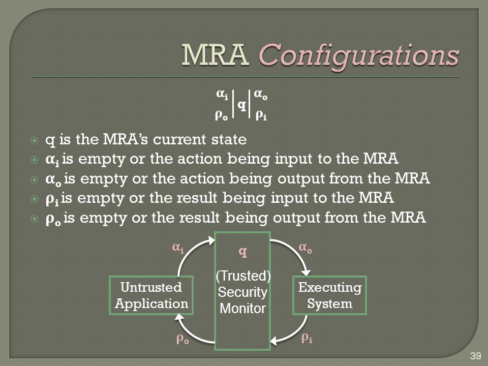  q is the MRA's current state  α i is empty or the action being input to the MRA  α o is empty or the action being output from the MRA  ρ i is emp