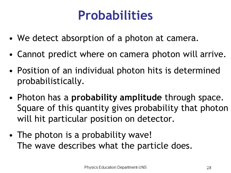 28 Probabilities We detect absorption of a photon at camera. Cannot predict where on camera photon will arrive. Position of an individual photon hits