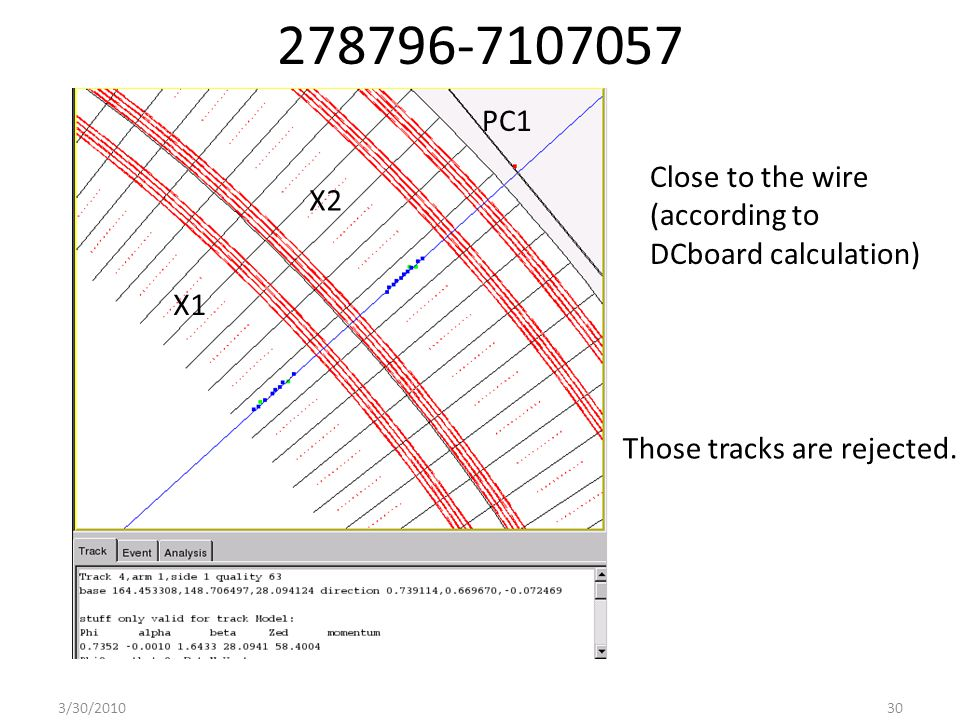 278796-7107057 Close to the wire (according to DCboard calculation) 3/30/201030 Those tracks are rejected.