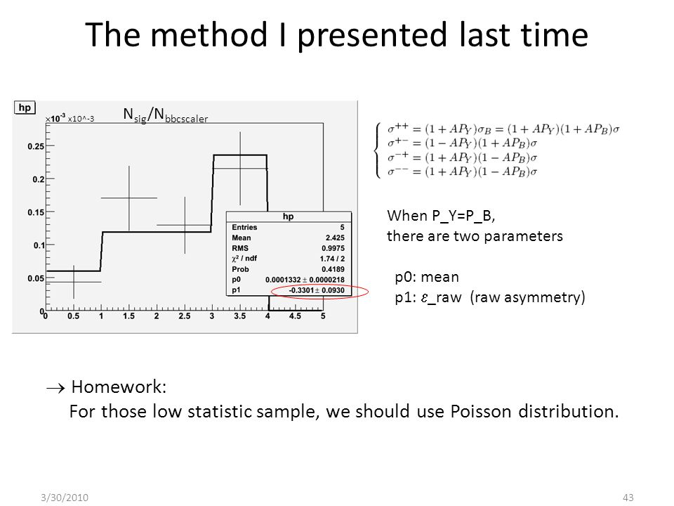 The method I presented last time When P_Y=P_B, there are two parameters p0: mean p1:  _raw (raw asymmetry)  Homework: For those low statistic sample, we should use Poisson distribution.