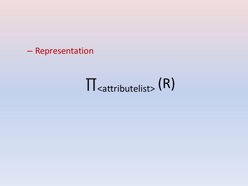 –R–Representation ∏ <attributelist> (R)