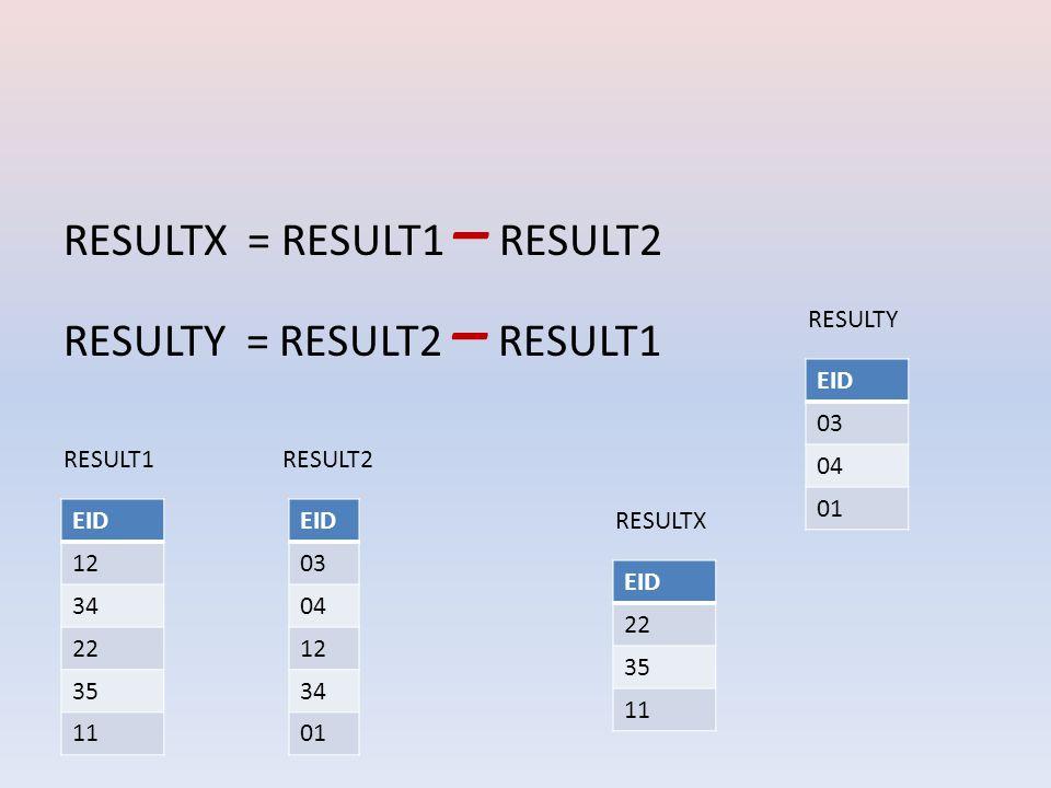 RESULTX = RESULT1 – RESULT2 RESULTY = RESULT2 – RESULT1 EID 12 34 22 35 11 EID 03 04 12 34 01 RESULT1RESULT2 EID 03 04 01 RESULTY EID 22 35 11 RESULTX