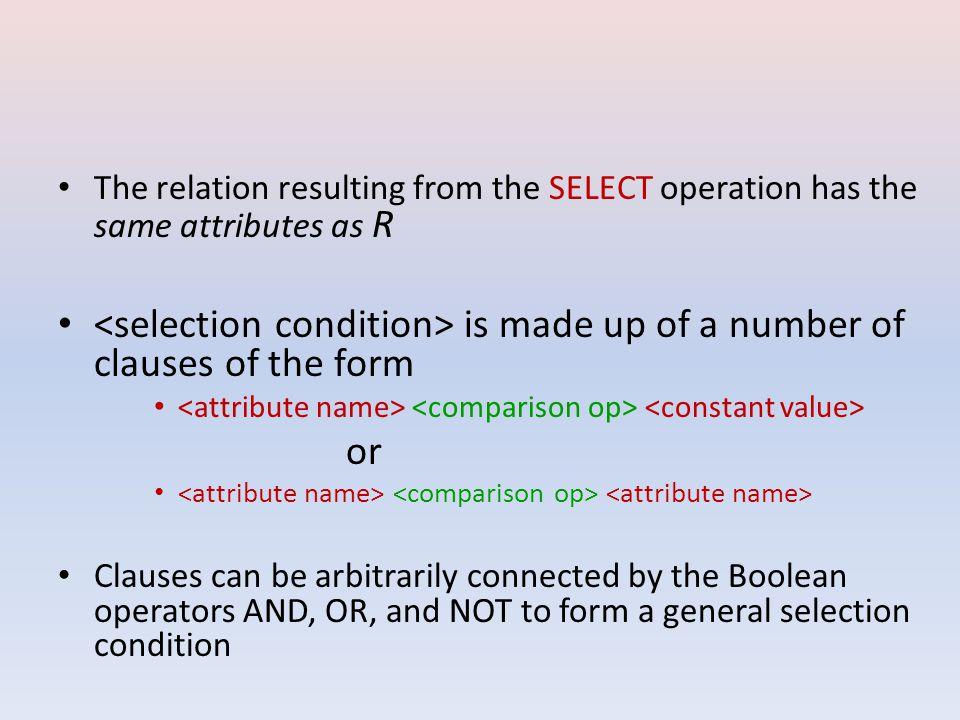 If the attribute list includes only non-key attributes of R –D–Duplicate tuples are likely to occur –P–PROJECT operation removes any duplicate tuples Duplicate elimination –E–Eg: ∏ LNAME,AGE,DEPARTMENT (Employee) EIDFNAMEMNAMELNAMEAGEDEPARTMENT 12NimalKumaraLiyanage45Finance 34SunimalKeerthiPerera33Production 22LalithVithanaLiyanage45Finance 35ChathuraShanakaSilva20Sales 11WicramaSapumalAmarathunga23Marketing LNAMEAGEDEPARTMENT Liyanage45Finance Perera33Production Liyanage45Finance Silva20Sales Amarathunga23Marketing LNAMEAGEDEPARTMENT Liyanage45Finance Perera33Production Silva20Sales Amarathunga23Marketing