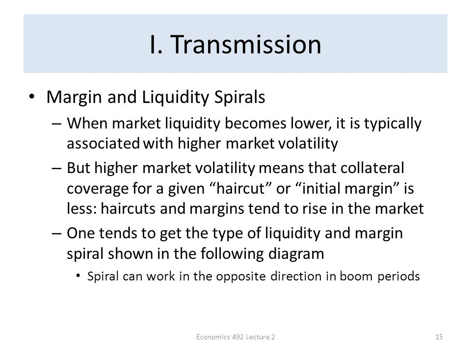 I. Transmission Margin and Liquidity Spirals – When market liquidity becomes lower, it is typically associated with higher market volatility – But hig
