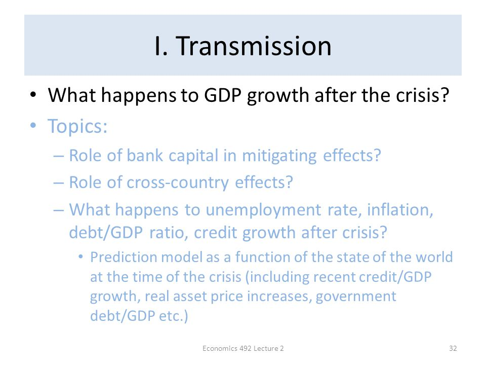 I. Transmission What happens to GDP growth after the crisis.