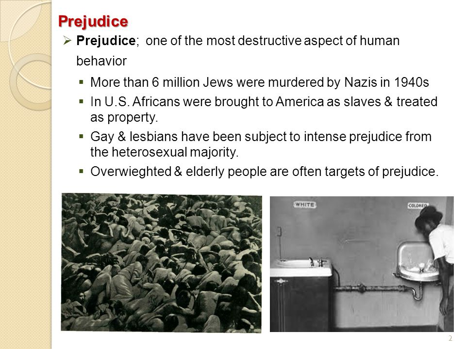 2Prejudice  Prejudice; one of the most destructive aspect of human behavior  More than 6 million Jews were murdered by Nazis in 1940s  In U.S. Afri