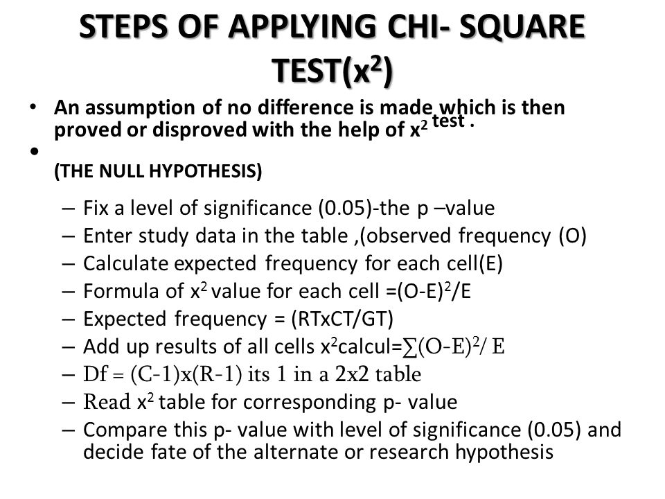STEPS OF APPLYING CHI- SQUARE TEST(x 2 ) An assumption of no difference is made which is then proved or disproved with the help of x 2 test. (THE NULL