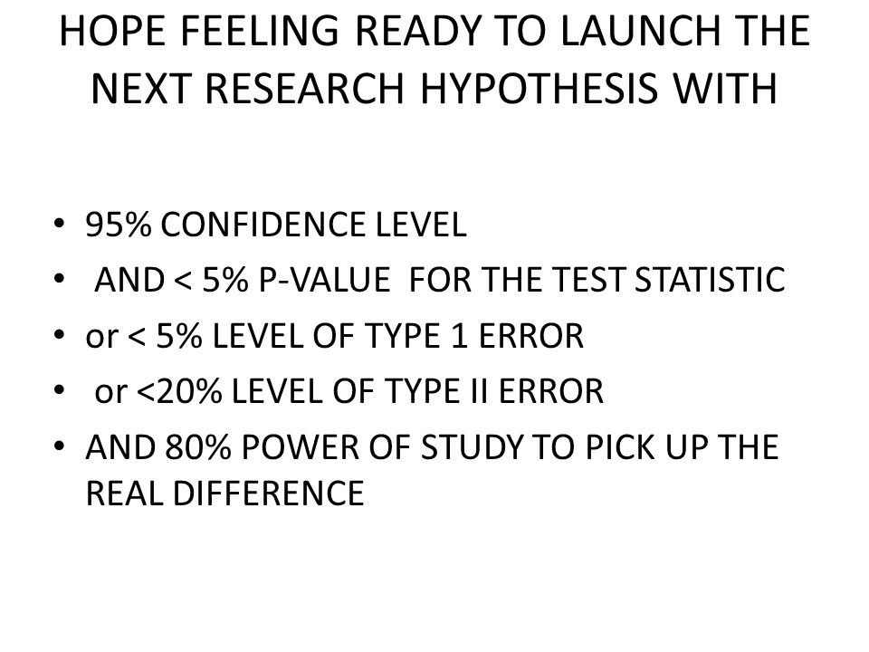 HOPE FEELING READY TO LAUNCH THE NEXT RESEARCH HYPOTHESIS WITH 95% CONFIDENCE LEVEL AND < 5% P-VALUE FOR THE TEST STATISTIC or < 5% LEVEL OF TYPE 1 ER