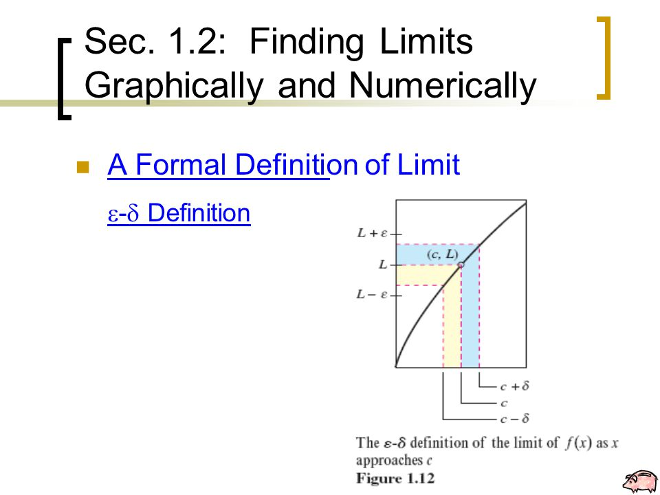 A Formal Definition of Limit  -  Definition Sec. 1.2: Finding Limits Graphically and Numerically