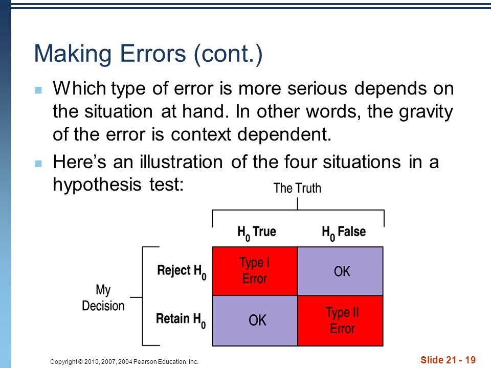 Copyright © 2010, 2007, 2004 Pearson Education, Inc. Slide 21 - 19 Making Errors (cont.) Which type of error is more serious depends on the situation
