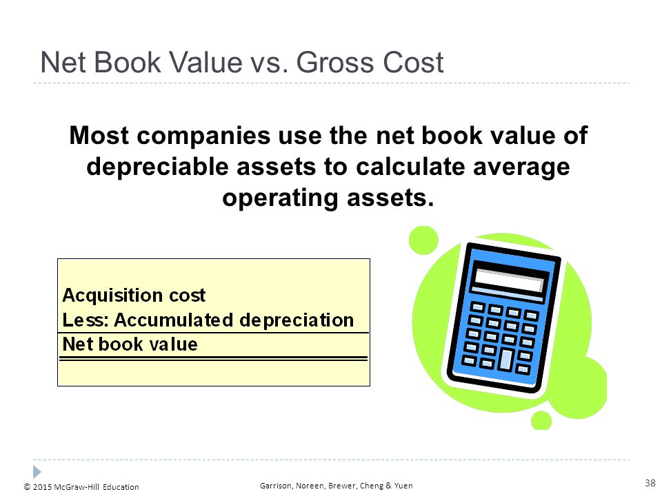 © 2015 McGraw-Hill Education Garrison, Noreen, Brewer, Cheng & Yuen Net Book Value vs. Gross Cost Most companies use the net book value of depreciable