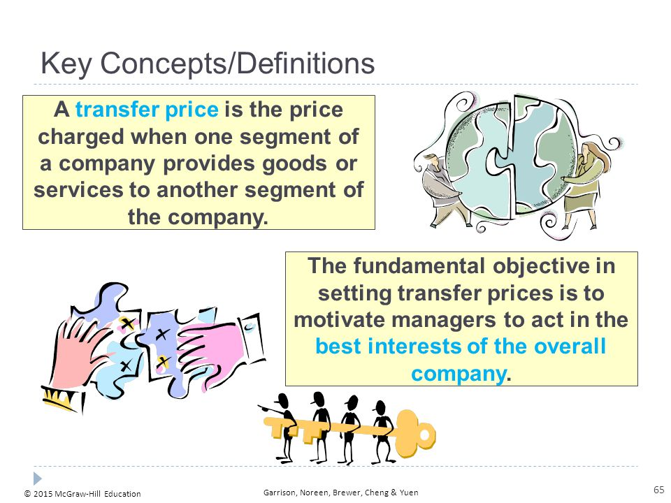 © 2015 McGraw-Hill Education Garrison, Noreen, Brewer, Cheng & Yuen Key Concepts/Definitions A transfer price is the price charged when one segment of