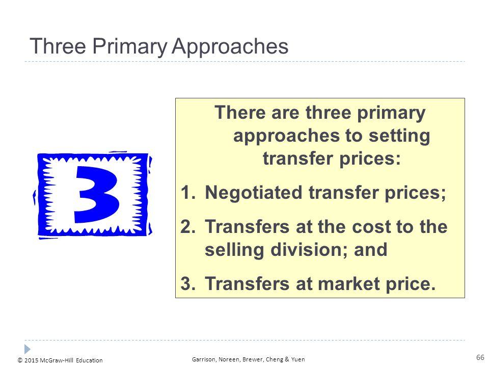 © 2015 McGraw-Hill Education Garrison, Noreen, Brewer, Cheng & Yuen Three Primary Approaches There are three primary approaches to setting transfer pr