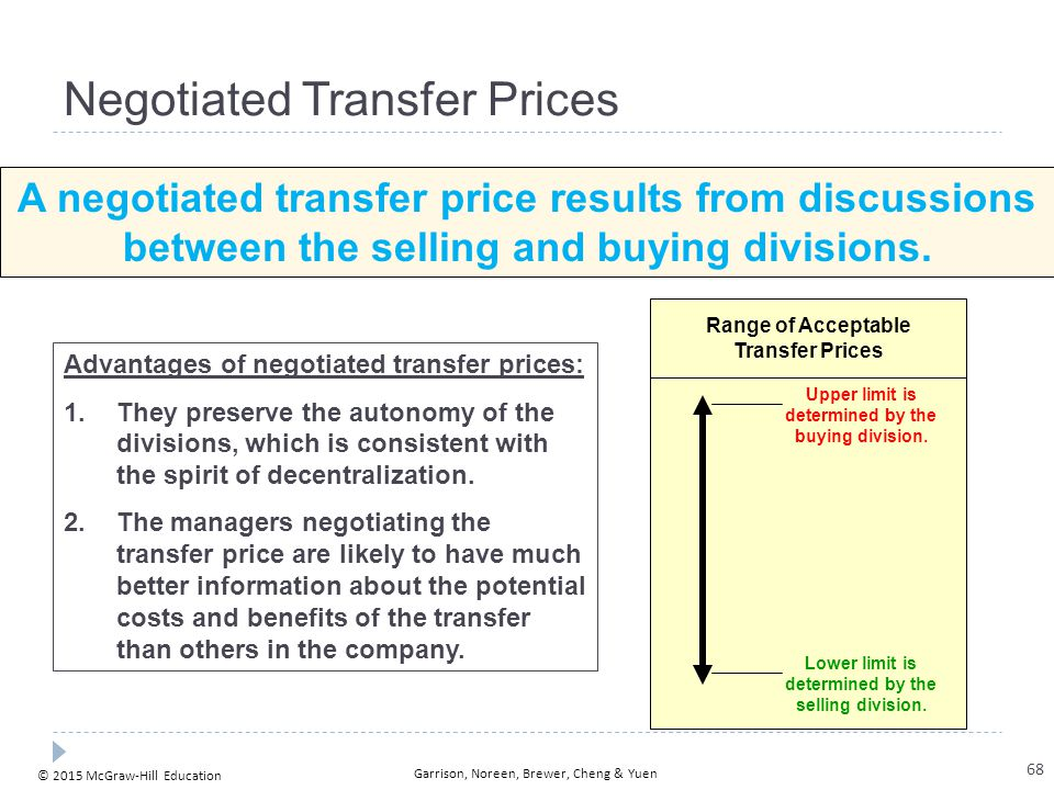 © 2015 McGraw-Hill Education Garrison, Noreen, Brewer, Cheng & Yuen Negotiated Transfer Prices A negotiated transfer price results from discussions be