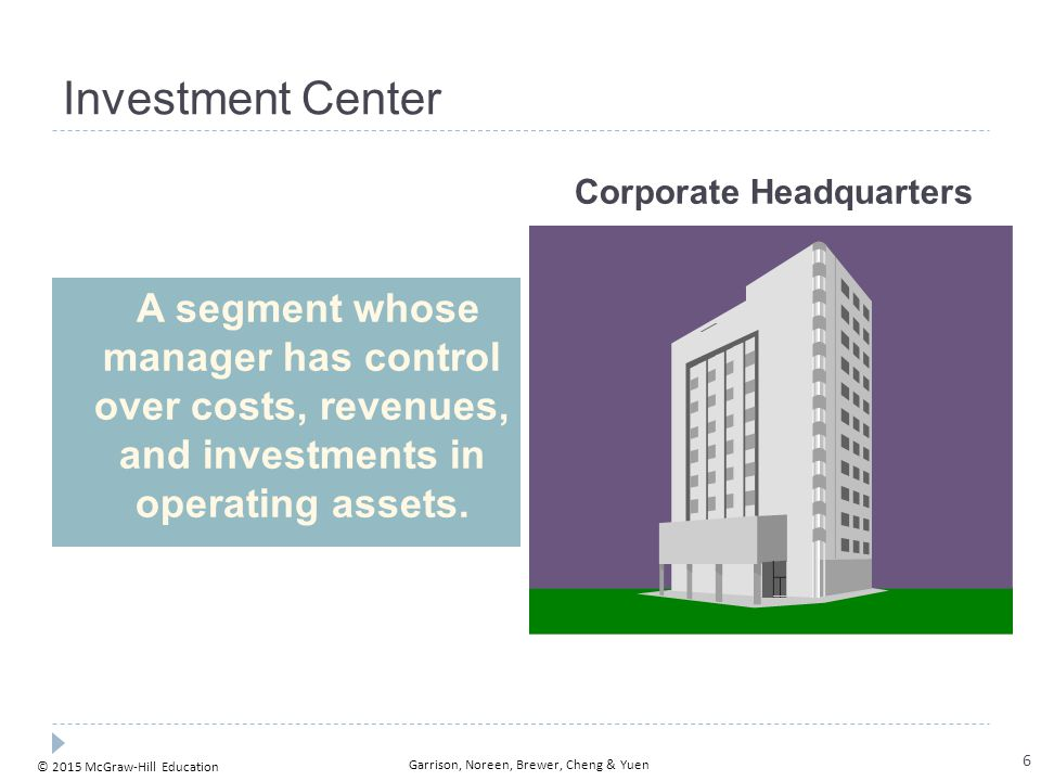 © 2015 McGraw-Hill Education Garrison, Noreen, Brewer, Cheng & Yuen Responsibility Centers Cost Centers Investment Centers Superior Foods Corporation provides an example of the various kinds of responsibility centers that exist in an organization.
