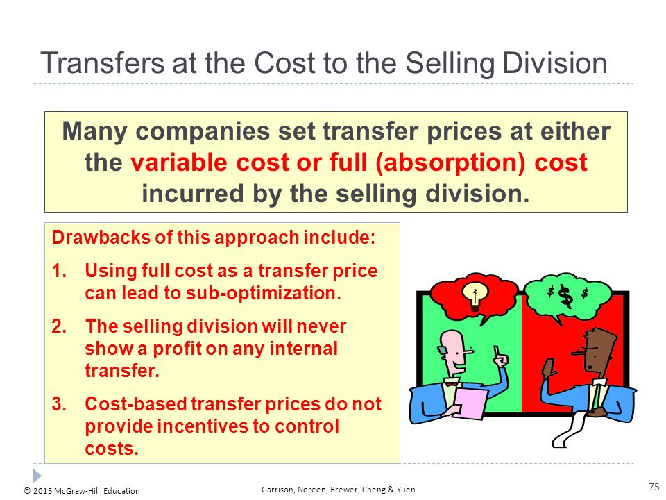 © 2015 McGraw-Hill Education Garrison, Noreen, Brewer, Cheng & Yuen Transfers at the Cost to the Selling Division Many companies set transfer prices a