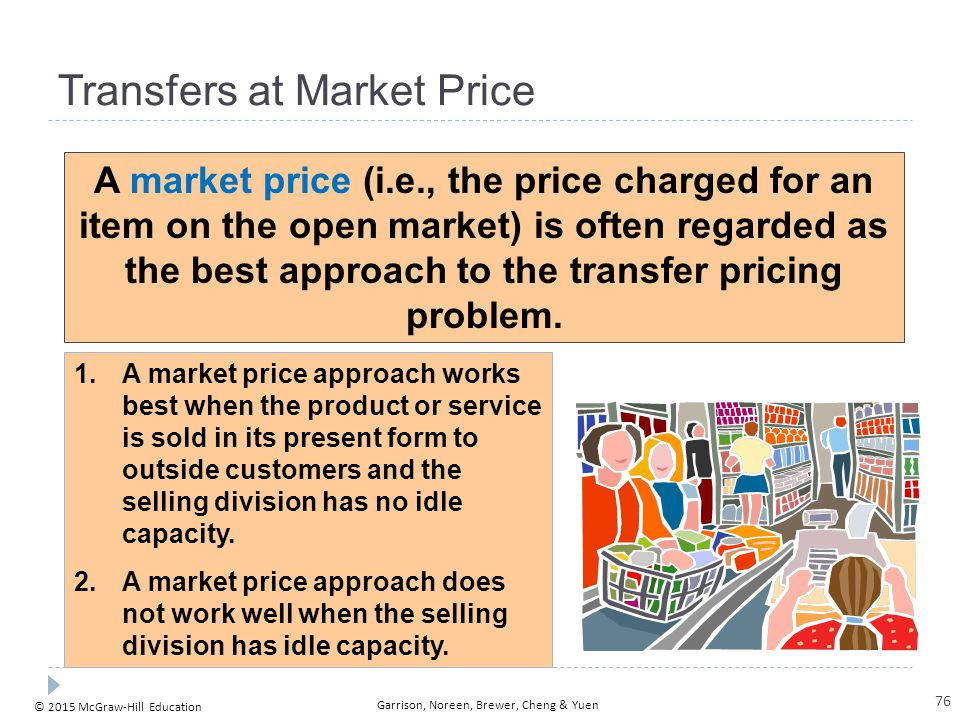 © 2015 McGraw-Hill Education Garrison, Noreen, Brewer, Cheng & Yuen Transfers at Market Price A market price (i.e., the price charged for an item on t