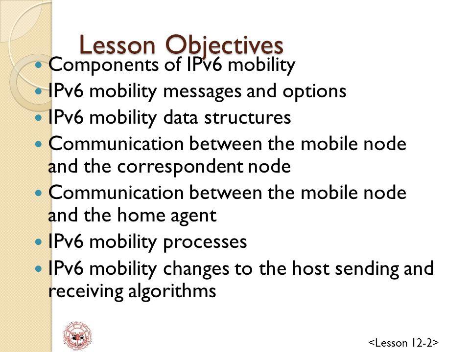 資 管 Lee IPv6 Mobility Overview IPv6 mobility allows an IPv6 node to be mobile—to arbitrarily change its location on the IPv6 Internet—and still maintain existing connections Connection maintenance for mobile nodes is handled at the Internet layer