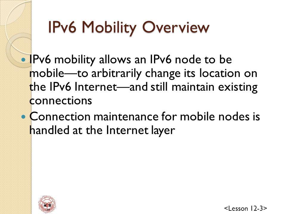 資 管 Lee IPv6 Internet Mobile Node Correspondent Node Home Agent Home Link Foreign Link Care-of Address Home Address Virtual Mobile Node Components of IPv6 Mobility HA: is a router maintains the home address of the mobiles nodes and its far-away CoA Binding: the association of a CoA with a home address for a mobile node.