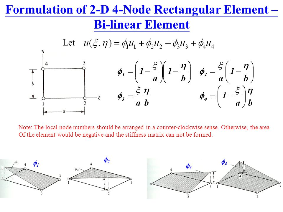 Formulation of 2-D 4-Node Rectangular Element – Bi-linear Element 1 1 2 2 3 3 4 4 Note: The local node numbers should be arranged in a counter