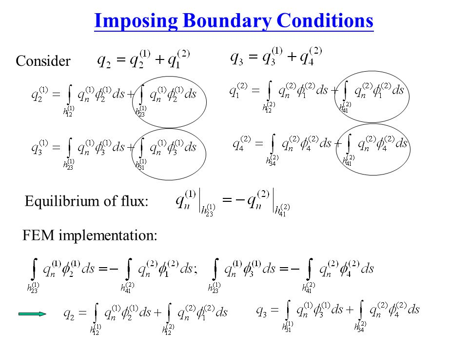 Imposing Boundary Conditions Equilibrium of flux: FEM implementation: Consider
