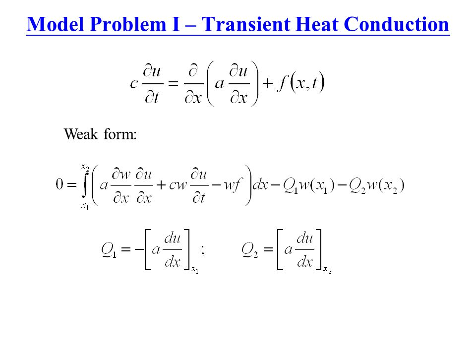 Model Problem I – Transient Heat Conduction Weak form: