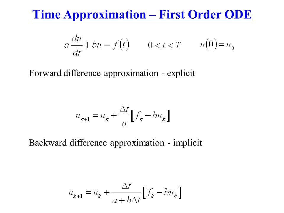 Time Approximation – First Order ODE Forward difference approximation - explicit Backward difference approximation - implicit