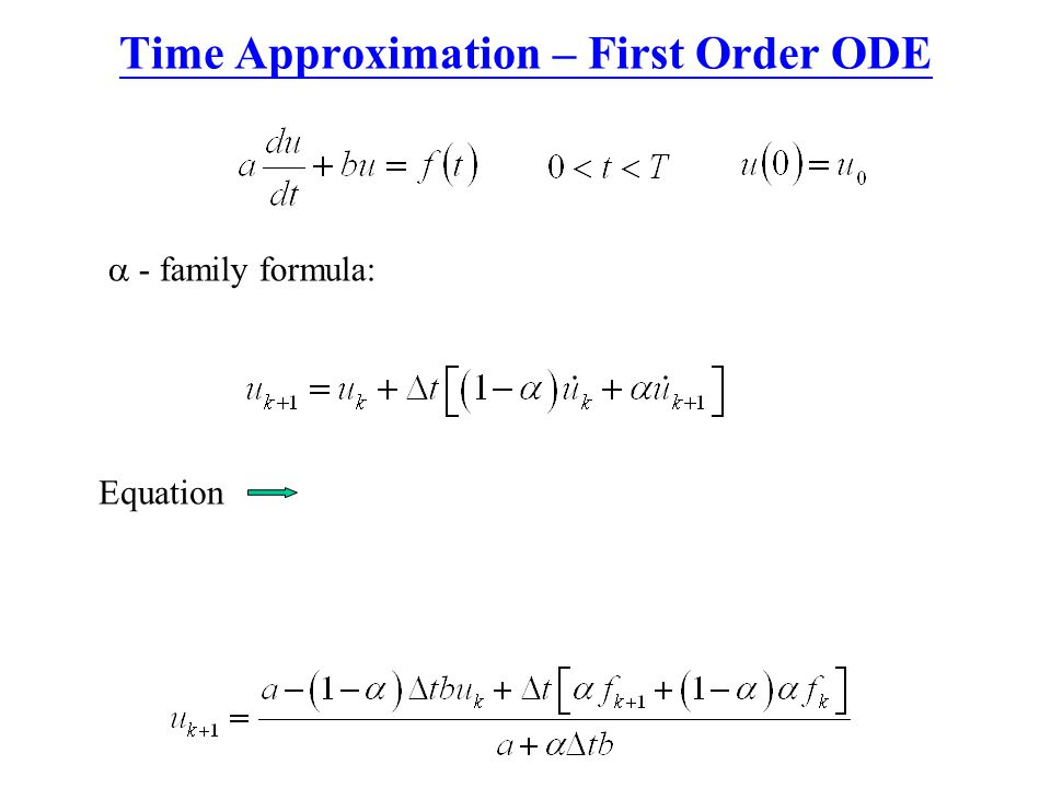 Time Approximation – First Order ODE  - family formula: Equation