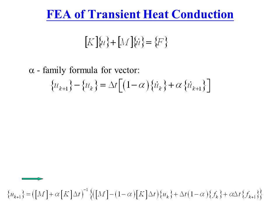 FEA of Transient Heat Conduction  - family formula for vector:
