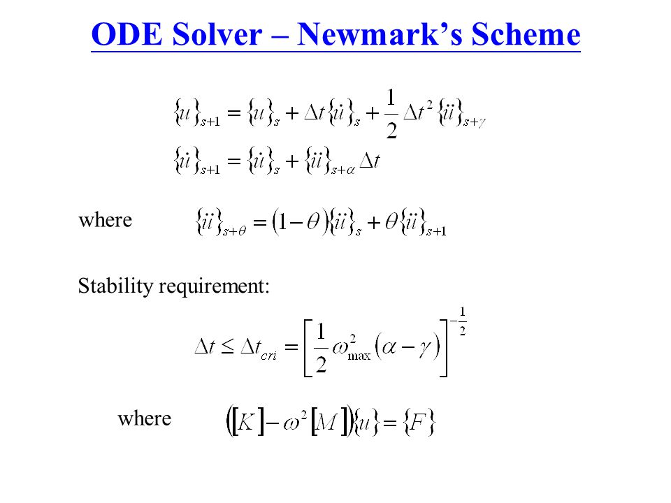 ODE Solver – Newmark's Scheme where Stability requirement: where