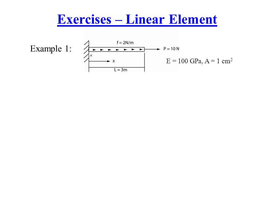 Exercises – Linear Element Example 1: E = 100 GPa, A = 1 cm 2