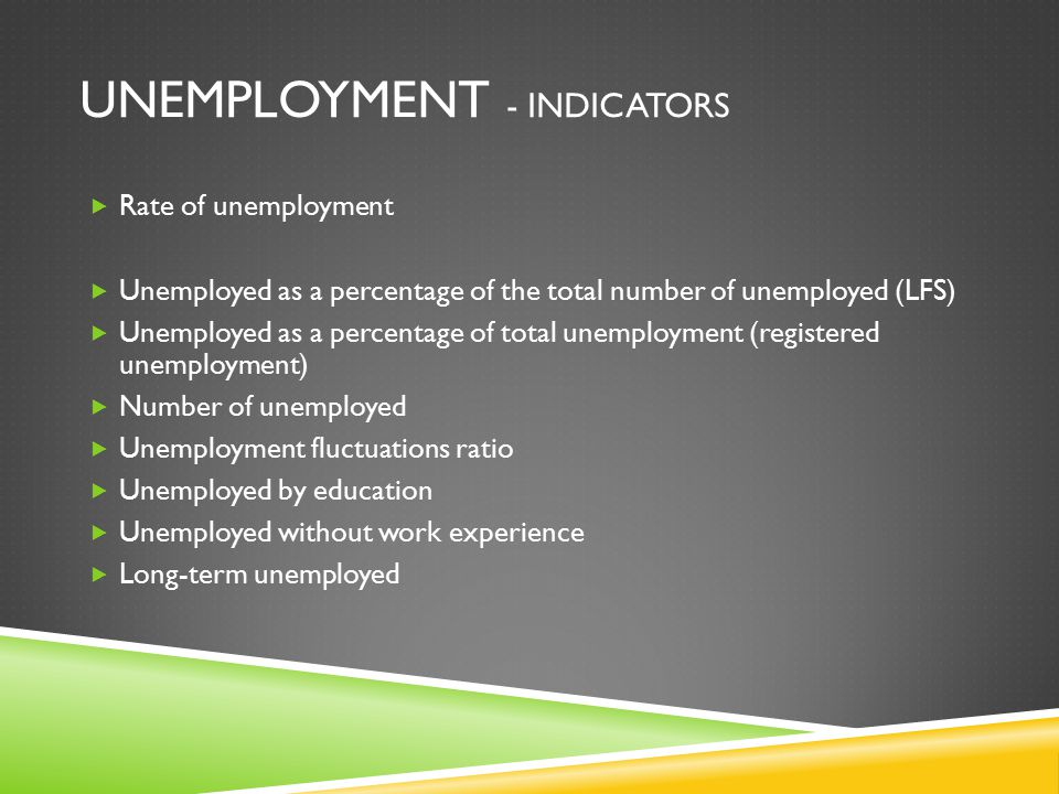 UNEMPLOYMENT - INDICATORS  Rate of unemployment  Unemployed as a percentage of the total number of unemployed (LFS)  Unemployed as a percentage of total unemployment (registered unemployment)  Number of unemployed  Unemployment fluctuations ratio  Unemployed by education  Unemployed without work experience  Long-term unemployed