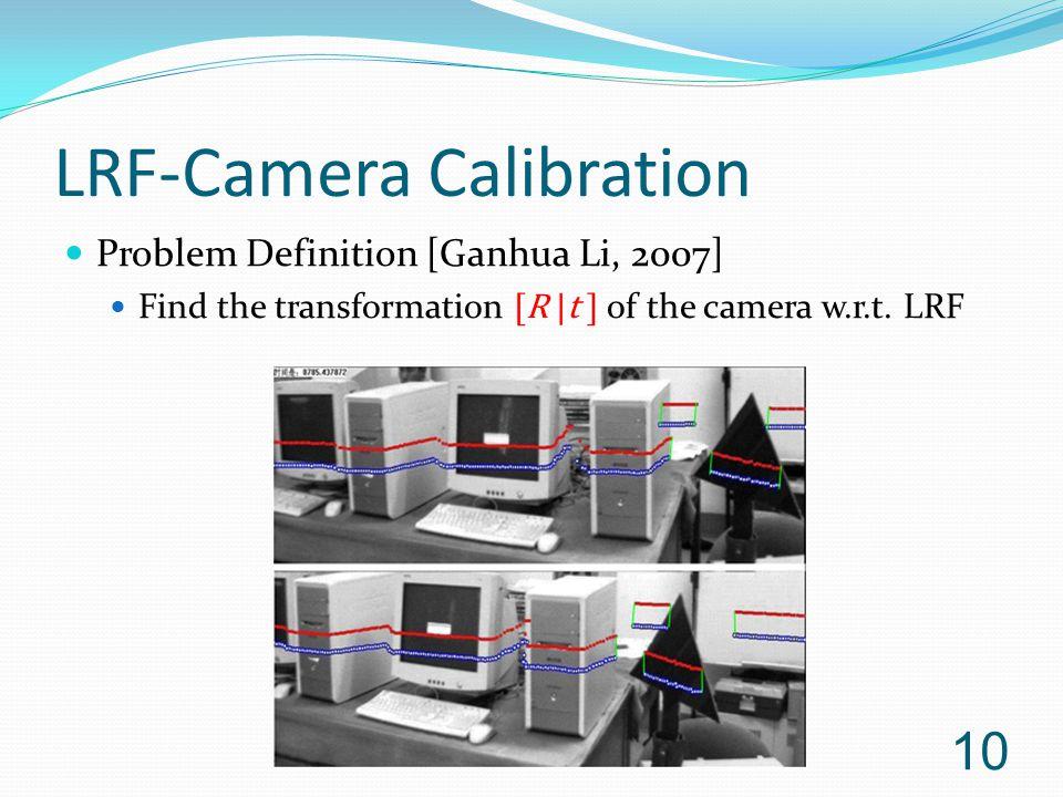 LRF-Camera Calibration Problem Definition [Ganhua Li, 2007] Find the transformation [R  t ] of the camera w.r.t.