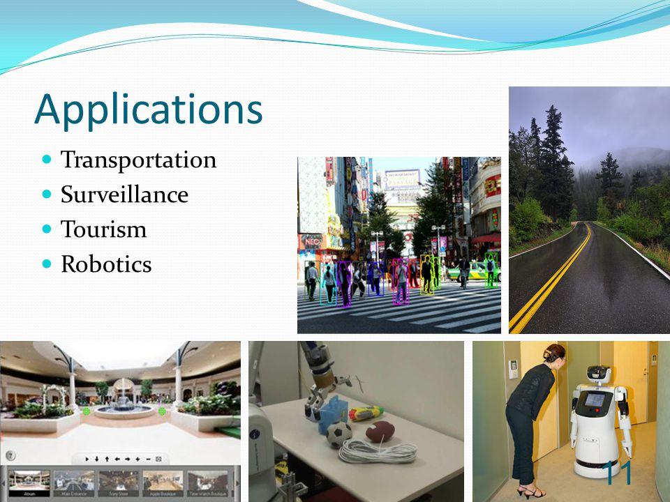 Transportation Surveillance Tourism Robotics Applications 11
