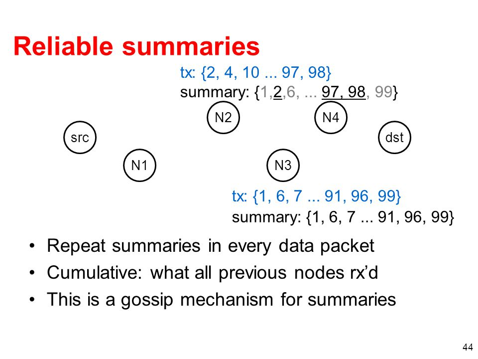 Reliable summaries Repeat summaries in every data packet Cumulative: what all previous nodes rx'd This is a gossip mechanism for summaries 44 src N1 N2 N3 dst N4 tx: {1, 6, 7...