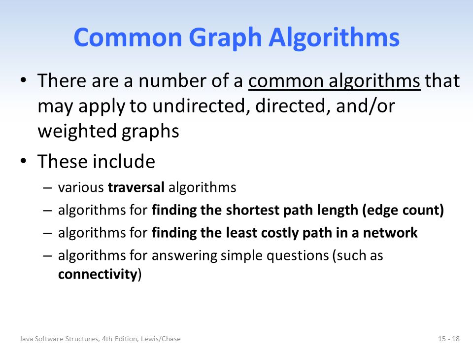 Common Graph Algorithms There are a number of a common algorithms that may apply to undirected, directed, and/or weighted graphs These include – vario