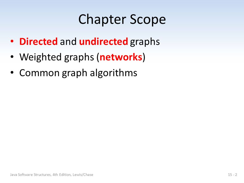 Chapter Scope Directed and undirected graphs Weighted graphs (networks) Common graph algorithms 15 - 2Java Software Structures, 4th Edition, Lewis/Cha